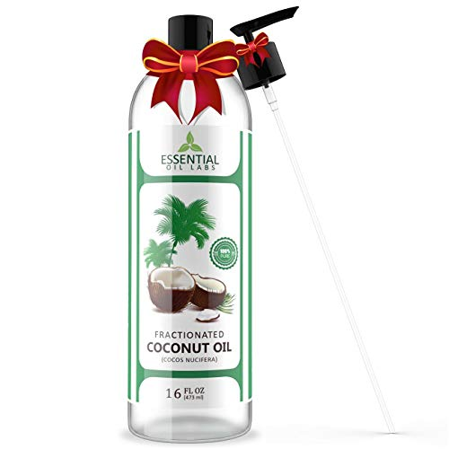 Oil Coconut Base (Fractionated Coconut Carrier Oil - Beauty in a Bottle - 100% Pure and Natural Therapeutic Grade - 16 oz with Premium Pump - Perfect for Aromatherapy, Massage, Hair and Skin Care by Essential Oil Labs)