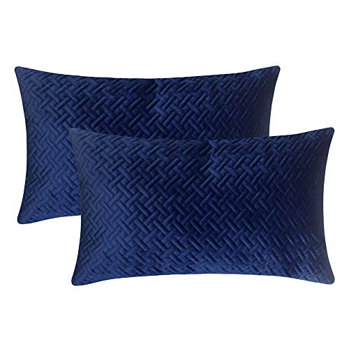 - Artcest Set of 2, Decorative Velvet Bed Throw Pillow Case, Sofa Soft Quilted Pattern, Comfortable Couch Cushion Cover, 12