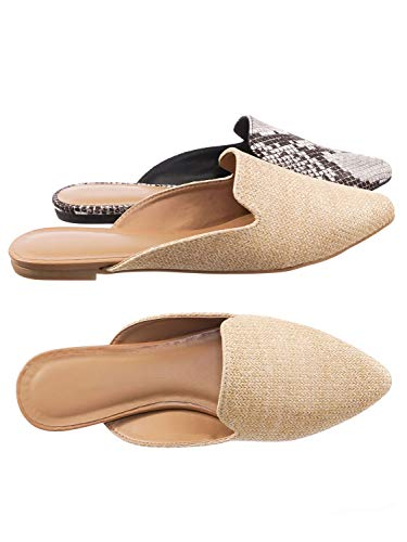 Aquapillar Slip On Mule Slippers - Women Flat Backless Pointed Toe Pump (Raffia Flats)
