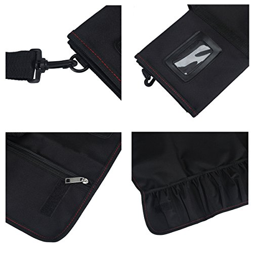 Tosnail Chef Knife Case Roll Bag with 21 Slots & 1 Large Zipper Pocket, Easy Carry Handle and Shoulder Strap - Black by Tosnail (Image #5)