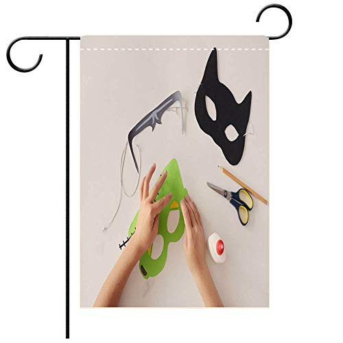 BEICICI Garden Flag Double Sided Decorative Flags Making Masks Paper Holiday Halloween Monsters mask Black cat Hands top View Decorative Deck, Patio, Porch, Balcony Backyard, Garden or Lawn]()