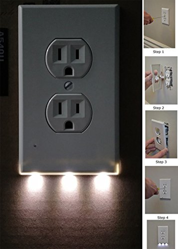 6 Pack Outlet Wall Plate With LED Night Lights - No Batteries Or Wires - Installs In Seconds - (Duplex, White) (6 Pack) by Hompr (Image #3)
