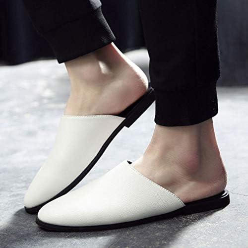 かかとなし ローファー メンズ 蒸れにくい カジュアル シューズ 革靴 男性 サンダル サッと履ける スリッポン ラインストーン スリッパ 黒 オフィス デスクワーク 快適 紳士靴 履きやすい くつ 室内 ルーム サボ