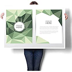 """Art-Canvas Prints Low Polygon Style Business Corporate brochure Cover and letterhead Template Print Paintings for Home Wall Office Decor 32""""x48"""""""