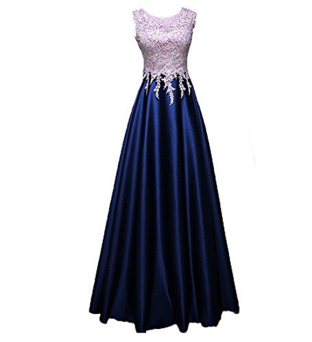 Dunkel mia Abendkleider Satin Abschlussballkleider Spitze Royal Lang Promkleider Braut Blau Rock La A Brautmutterkleider Linie qpACxnHBAw