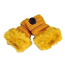 Tenworld Women Lady Warm Winter Faux Rabbit Fur Wrist Fingerless Gloves Mittens