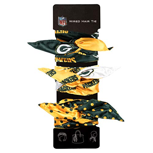 Green Bay Packers Ribbon (Littlearth Women's NFL Wired Hair Tie, Green, Set of)
