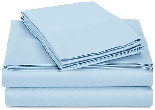 Linen-Square 4-PCs Bed Sheet Set 600-Tread-Count Long Staple Egyptian Cotton Extra Soft Fits Mattress Upto 22 Inch Deep Pocket Sheets -Twin, Light Blue Solid