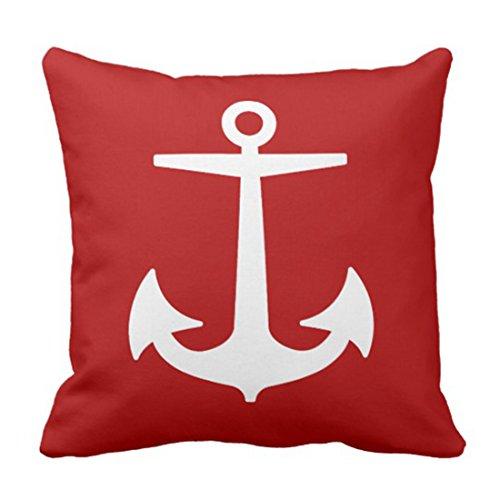 Diy Nautical Decor (Emvency Throw Pillow Cover Red Boat Pixdezines Anchors Diy Nautical White Ocean Decorative Pillow Case Home Decor Square 18 x 18 Inch)