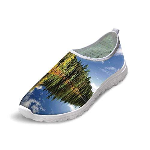 TecBillion Lake House Decor Comfortable Running Shoes,Elegant Forest Reflecting on Calm Lake Shore at North Canada Universe Art Print for Men Boys,US 7 - Shore North Marble