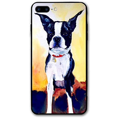 CHUFZSD Watercolor Boston Terrier iPhone 7/8 Plus Case Soft Flexible TPU Anti Scratch Shock-Proof Protective Shell Compatible Phone Case Cover (5.5 Inch)