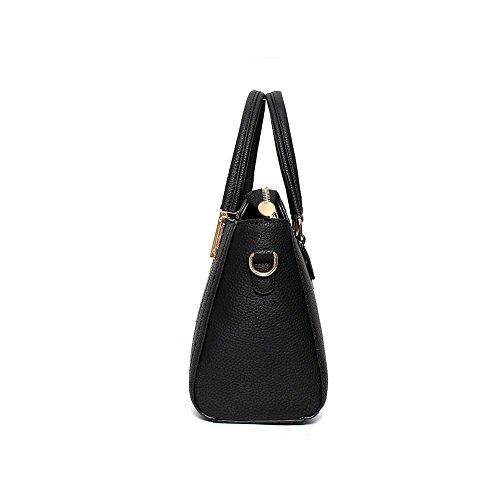 Emotionlin Damen Tragen Taschen Frauen Modedesigner Metall Detail Farbe Block Schulter Handtaschen (Schwarz) Rosa