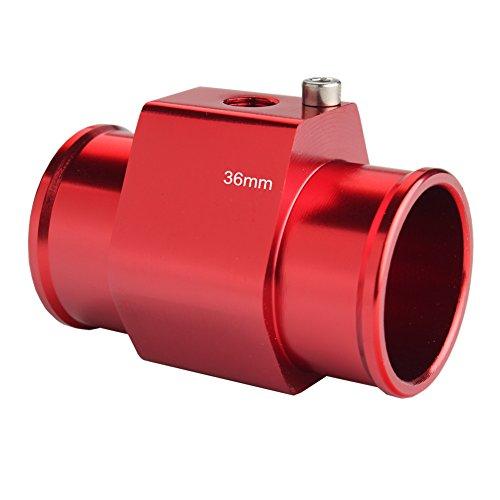(Dewhel Aluminum Red Water Temp Meter Temperature Gauge Joint Pipe Radiator Sensor Adaptor Clamps 36mm)