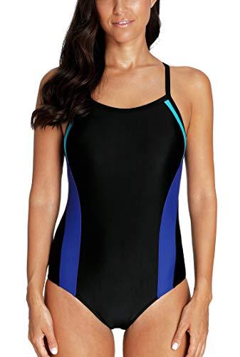 Vegatos Women's Athletic One Piece Swimsuit Colorblock Cross Back Bathing Suits L
