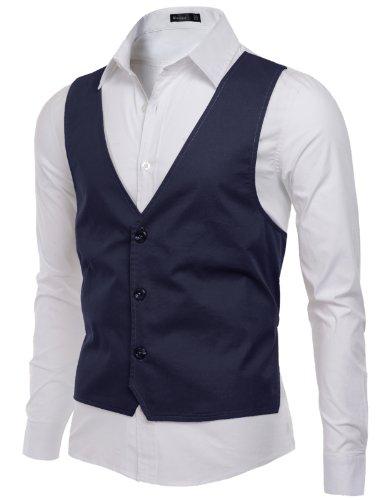 Doublju Mens Front Vest patched Long Sleeve Shirts, Navy, M