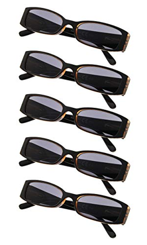 (5-Pack Ladies Reading Glasses Sunshine Readers (Greylens,+2.25))