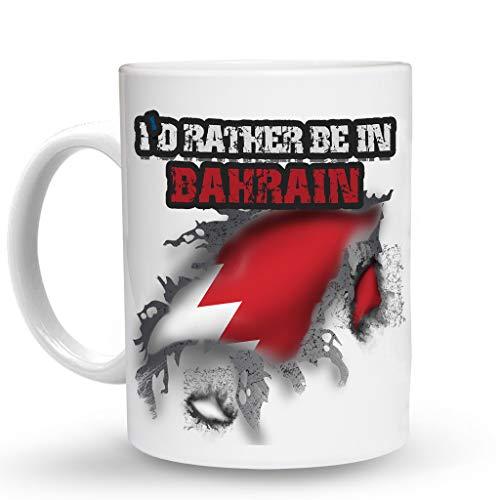 Makoroni - I'D RATHER BE IN BAHRAIN Mug - 11 Oz. Unique COFFEE MUG, Coffee - Bahrain Mug