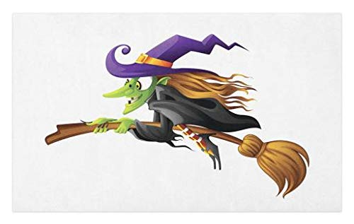 Lunarable Witch Doormat, Evil Scary Old Woman Flying Creepy Fairytale Character Female Magician, Decorative Polyester Floor Mat with Non-Skid Backing, 30