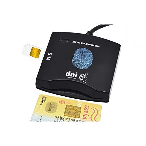 KLONER KLT0084 - Lector Externo de DNI-electrónico, Tarjetas criptográficas y Tarjetas SIM, USB 2.0