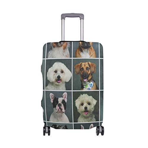 Suitcase Cover Cute Puppy Pug Dog Head Emoji Luggage Cover Travel Case Bag Protector for Kid Girls (Passport Cars Cover Disney)