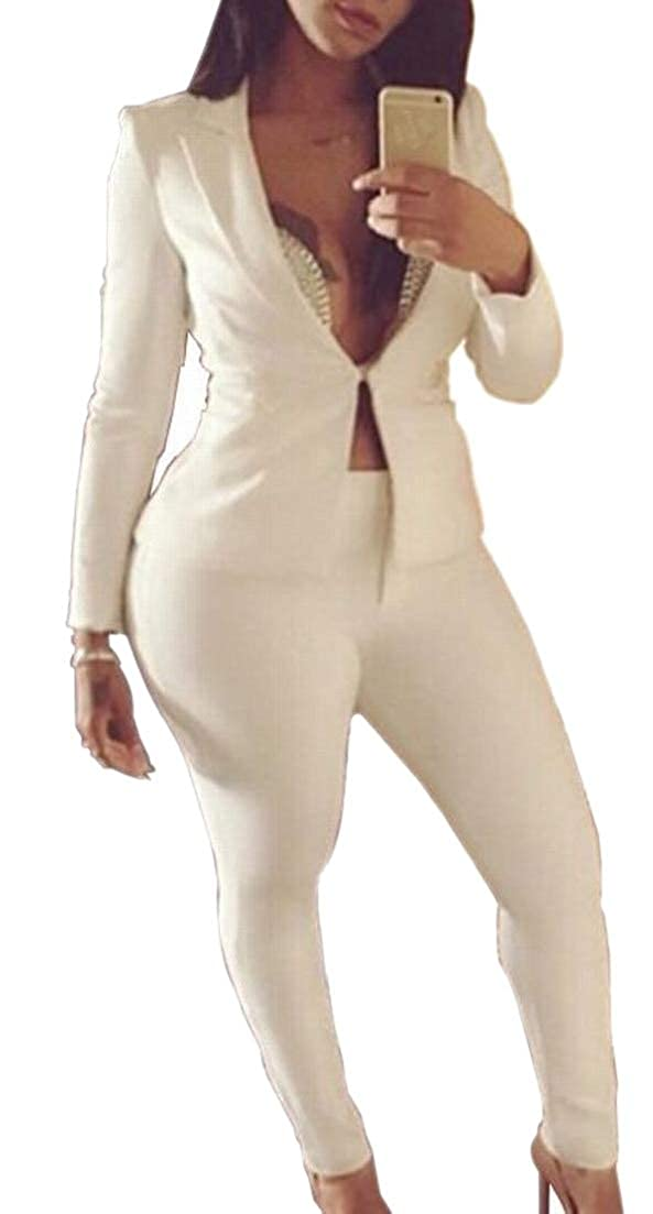 Alion Womens 2 Piece Outfits Long Sleeve Blazer and Pants Suit Sets