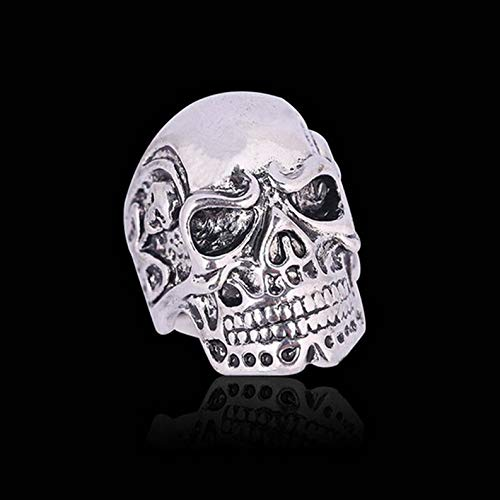 (Rhame Retro Gothic Skull Vintage Biker Mens Black Punk Stainless Steel Ring Size 6-11 | Model RNG - 8987 | 10)