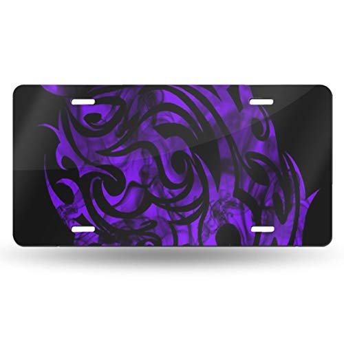 Leda Metal Desk - DERTYV License Plate Frame Custom Purple Flames Best Metal Signs Car Cover Set Fantastic for Car Decoration