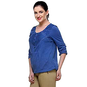 Classic Collection Blue Cotton Round Neck Blouse For Girls