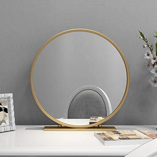 TIANGU Gold Round Mirror with Base,Large Circle Mirrors for Dressing Table Decor,23.6in Big Metal Frame Standing Mirror,Modern Vanity Mirror for Living Room Bathroom Bedroom