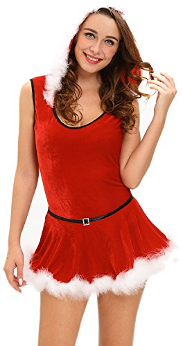 IF FEEL Faux Fur Trim Velvet Bustier Sweet Santa Costume Sexy Christmas ((US 16-18)XL, Red)