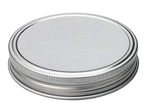 THINKCHANCES Silver Rust Proof and Air Tight Aluminum One Piece Storage Lid with Silicone Sealing Linear Plastisol for Regular Mouth Transform Mason Ball Canning Jars (6 Pack, Regular Mouth)