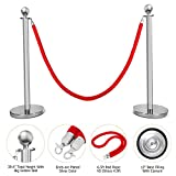 Mefeir 2 PCS Queue Pole Stanchion, Crowd Control Barrier, Security Fence Stainless Steel Ball Top Retractable Belt Posts/Red Velvet Rope VIP Silver