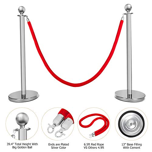 Mefeir 2 PCS Queue Pole Stanchion, Crowd Control Barrier, Security Fence Stainless Steel Ball Top Retractable Belt Posts/Red Velvet Rope VIP Silver]()
