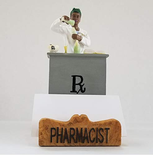Pharmacist Business Cardholder Figurine. Gift and Collectible - African American Female. by RoCo2 Enterprises