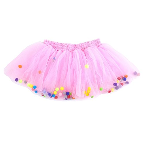 Moomintroll Baby Toddlers Girls Pettiskirt Dress 4 Super Soft Layers Rainbow Pom Pom Puff Balls Tutu Skirt with Headband (6-12 Months, Pink) ()