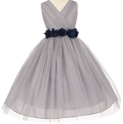 Big Girls' Silver V Neck Removable Floral Sash Flowers Girls Dresses Navy Size 10 (C12C20SV) ()