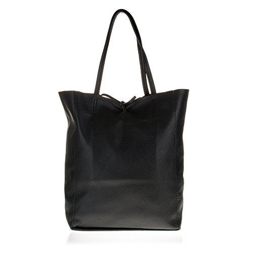 FIRENZE ARTEGIANI.Bolso shopping bag de mujer piel auténtica.Bolso mujer cuero genuino Dollaro y frente en piel de potro. MADE IN ITALY. VERA PELLE ITALIANA. 40x37x13,5 cm. Color: NEGRO NEGRO