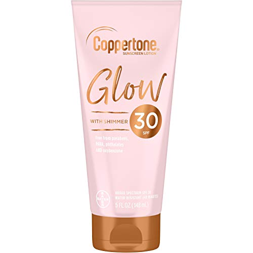 Coppertone Glow Hydrating Sunscreen Lotion with Illuminating Shimmer Minerals and Broad Spectrum SPF 30, Water-resistant, Fast-drying, Free of Parabens, PABA, Phthalates, Oxybenzone, 5 Fl Oz