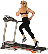 Sunny Health & Fitness Folding Treadmill with Device Holder, Shock Absorption and Inc