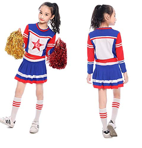 Girls Cheerleader Costume Uniform Red Star Cheerleading Outfit Match with Socks (140) for $<!--$19.99-->