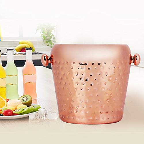 Ice Bucket 1L Stainless Steel Champagne Wine Ice Cube Container Bar Home Party Supplies Drinks Ice Cooler(Rose - Champagne Bucket Roses