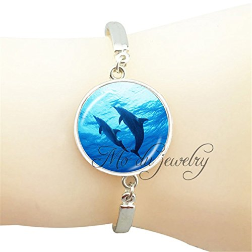 Dolphin Pendant Glass (New brand dolphins pendant charms glass cabochon dolphins photo bangle silver plated animal jewelry animal lover gift)