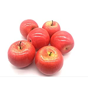 Maggift Artificial Fruits 6 pack,Decorative Fruit (Apple Red) 5