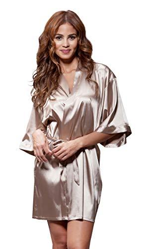 Turquaz Linen Satin Kimono Bridesmaids Robe (Small/Medium, Taupe) (Linen Silk Belt)
