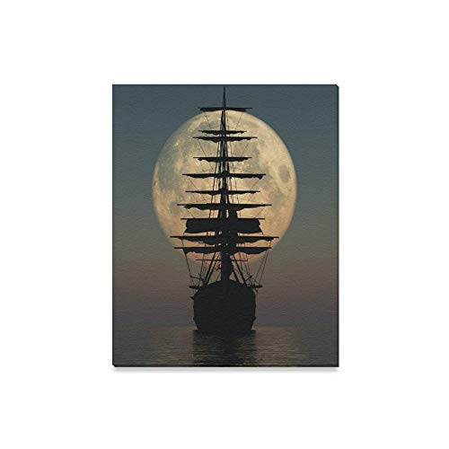 """Delighin Wall Art Modern Giclee Canvas Prints Night Moon Pirate Sailing Ship Pictures Prints on Canvas Wall Art for Home Office Corridor Office Living Room Bedroom Decor Wall Art - Size 16""""x20"""""""