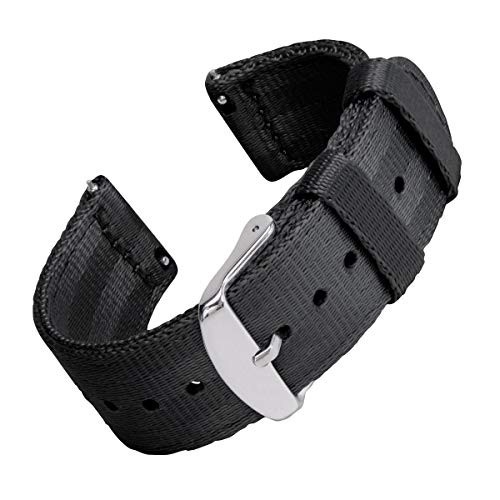 Archer Watch Straps Seat Belt Nylon Quick Release Watch Bands (Black, 20mm) Belt Wrist Unisex Watch