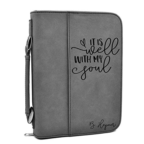 Custom Bible Cover | It is Well with My Soul |Personalized Bible Cover (Gray) ()