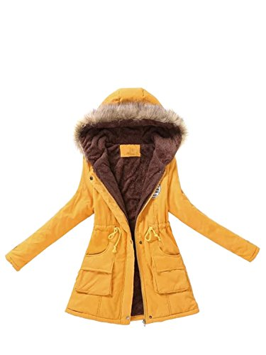 MAKEMECHIC Women's Long Sleeve Winter Lined Faux Fur Zipper Hooded Parka Coat Ourwear with Pocket Yellow M