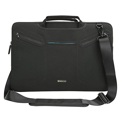 Evecase Multi-functional Carrying Messenger Case with Handle and Shoulder Strap for 17 - 17.3 inch Laptops - Black