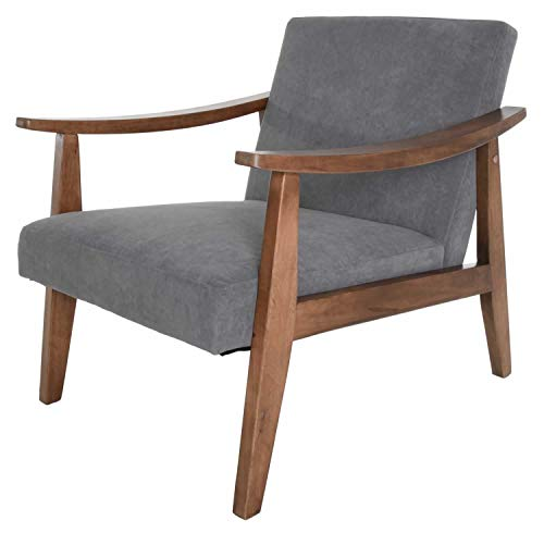 (Zenvida Accent Lounge Chair Solid Hardwood Mid Century Modern Upholstered)